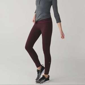 Lululemon sz 4 burgundy pace queen leggings ruched